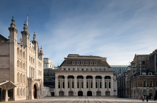 Stock Photo: 1801-55468 City Of London  The Guildhall  The City Powerhouse Since The Twelfth Century  The Guildhall Porch In The Guildhall Courtyard  With Guildhall Art Gallery