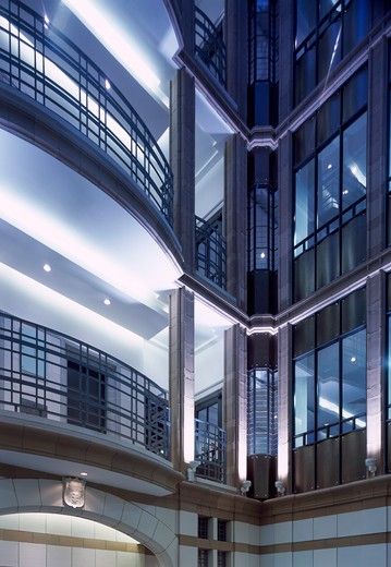 Atrium  Balcony  Lighting - Austen Friars  City Of London : Stock Photo