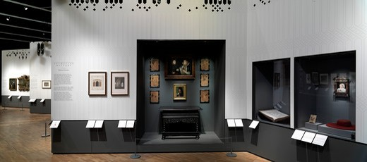 Stock Photo: 1801-56424 Horace Walpole and Strawberry Hill Exhibition At The VandA London Designed By Block Architecture Uk 2010 - Reverse Panorama View Of Exhibition Gallery Wing A