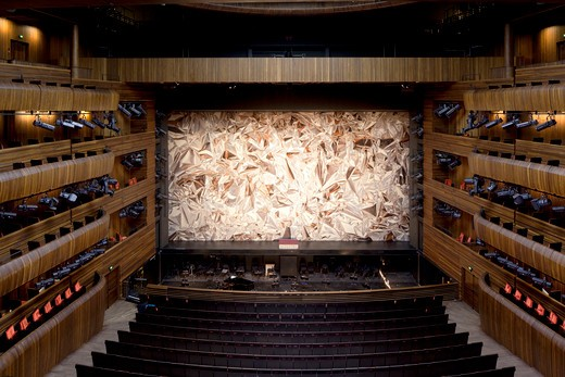 Stock Photo: 1801-58077 Oslo Opera House (Operaen)  Snøhetta  Oslo Norway  2008  Ammonia-Treated Oak-Clad Main Auditorium With Metafoil Stage Curtain