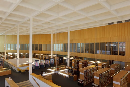 Stock Photo: 1801-58186 Turku Library, Jkmm Architects, Turku Finland, 2007, View Over First Floor From Second Floor Balcony