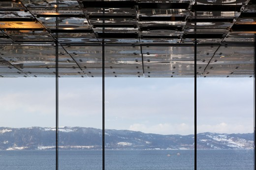 Stock Photo: 1801-58246 Rockheim Rock and Pop Museum, Pir Ii Arkitektkontor, Trondheim Norway, Ceiling Of Restaurant Extending To Exterior With View Over Trondheimsfjorden