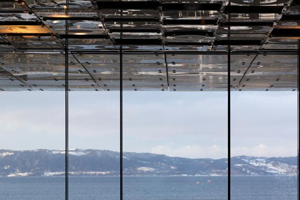 Rockheim Rock and Pop Museum, Pir Ii Arkitektkontor, Trondheim Norway, Ceiling Of Restaurant Extending To Exterior With View Over Trondheimsfjorden : Stock Photo
