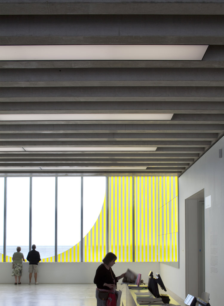 Stock Photo: 1801-58542 Turner Contemporary Art Gallery David Chipperfield Architects Margate Uk 2011 - Gallery Interior Daniel Buren Window Artwork At Ground Level Detail With People