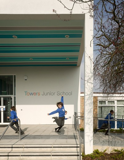 Stock Photo: 1801-58814 Towers Junior School Walters And Cohen London United Kingdom 2010 Detail Of School Entrance With Children At Play