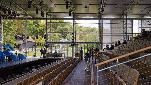 The Garsington Temporary Opera House, Wormsley Estate, Buckinghamshire, Robin Snell, 2011, Uk, Interior Side Elevation Of Tiers And Stage During Rehearsal : Stock Photo
