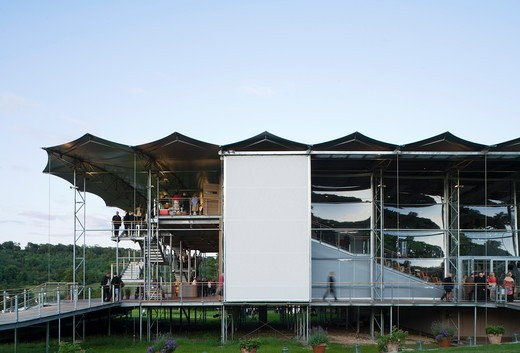 Stock Photo: 1801-58903 The Garsington Temporary Opera House, Wormsley Estate, Buckinghamshire, Robin Snell, 2011, Uk, Frontal Dusk Elevation With Visitors