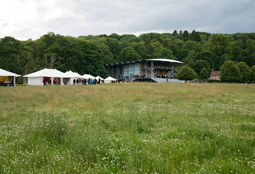 Stock Photo: 1801-58908 The Garsington Temporary Opera House, Wormsley Estate, Buckinghamshire, Robin Snell, 2011, Uk, Grand Elevation With Landscape And Tents
