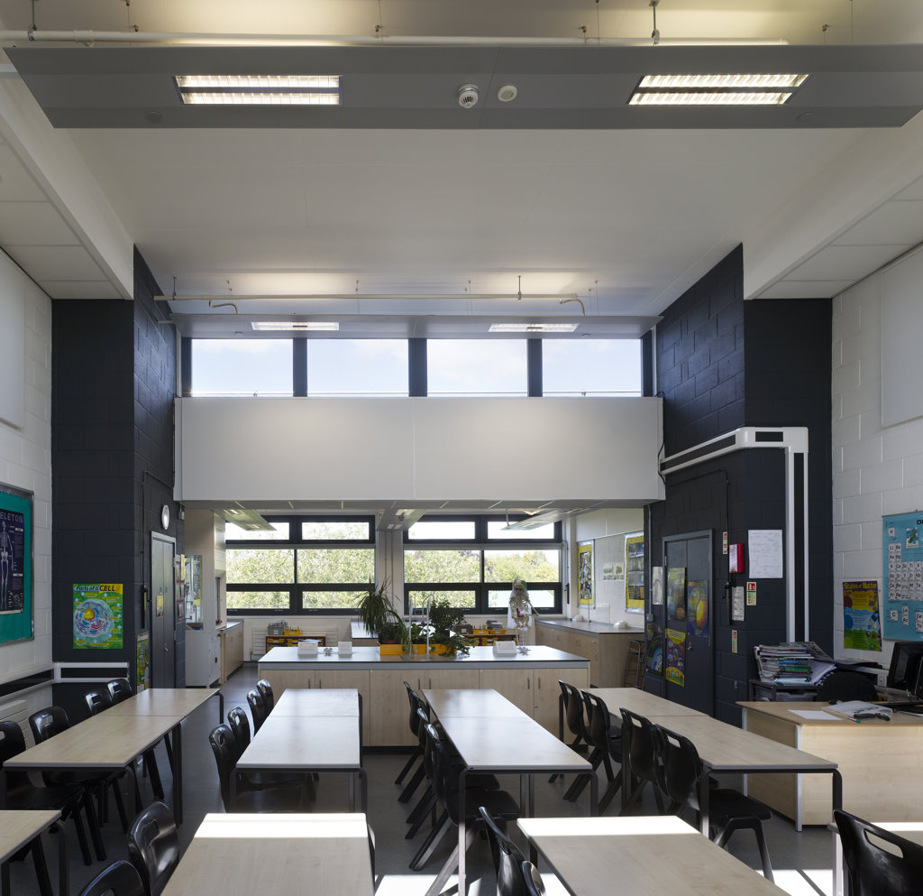 Stock Photo: 1801-58972 Cotham School, Walters And Cohen, Bristol, United Kingdom, 2010, Interior View Through Of Newly Build Science Classroom