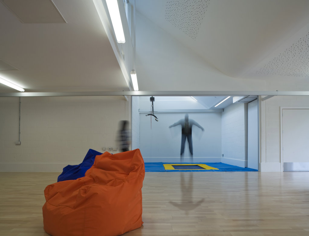 Stock Photo: 1801-59003 Tuke School, Haverstock Associates, London, 2010, Classroom With Trampoline