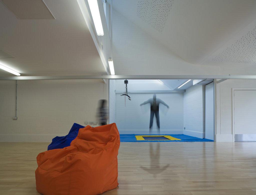 Tuke School, Haverstock Associates, London, 2010, Classroom With Trampoline : Stock Photo