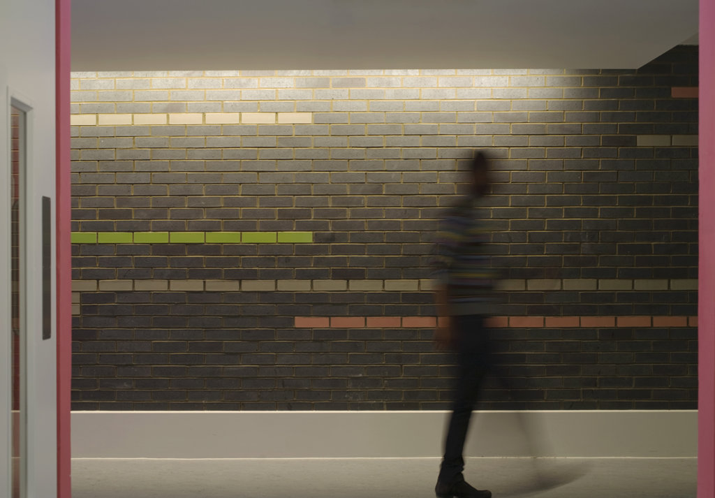 Tuke School, Haverstock Associates, London, 2010, Detail Of Colourful Interior Glazed Brick Wall : Stock Photo