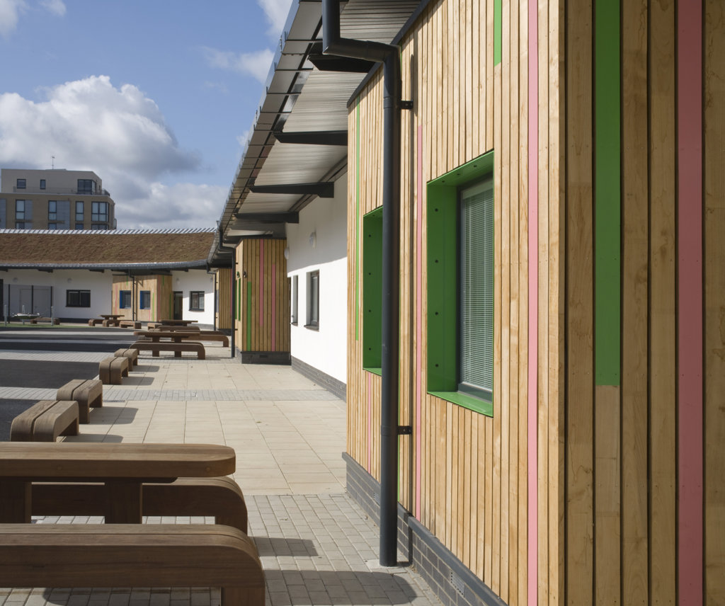 Stock Photo: 1801-59023 Tuke School, Haverstock Associates, London, 2010, Perspective Of Exterior Timber Cladding