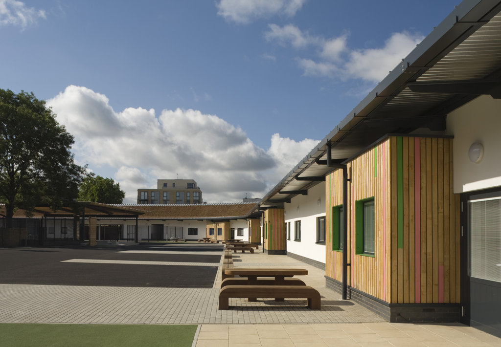 Stock Photo: 1801-59024 Tuke School, Haverstock Associates, London, 2010, Perspective Of Exterior Timber Cladding And Schoolyard