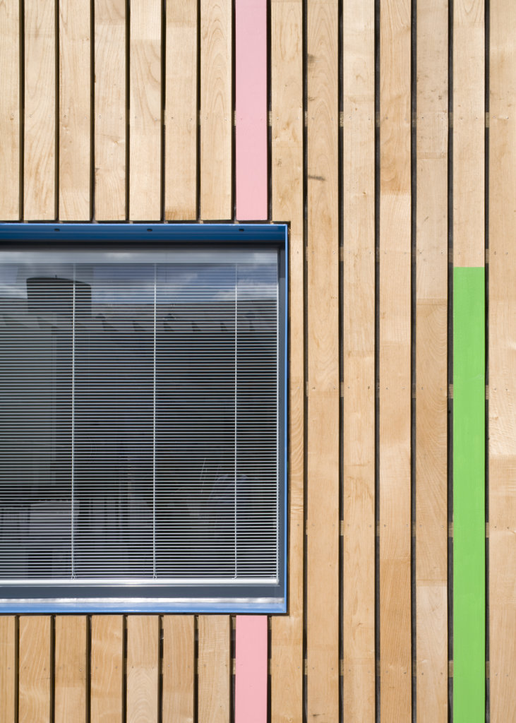 Tuke School, Haverstock Associates, London, 2010, Detail Of Window Reveal And Colourful, Exterior Timber Cladding : Stock Photo