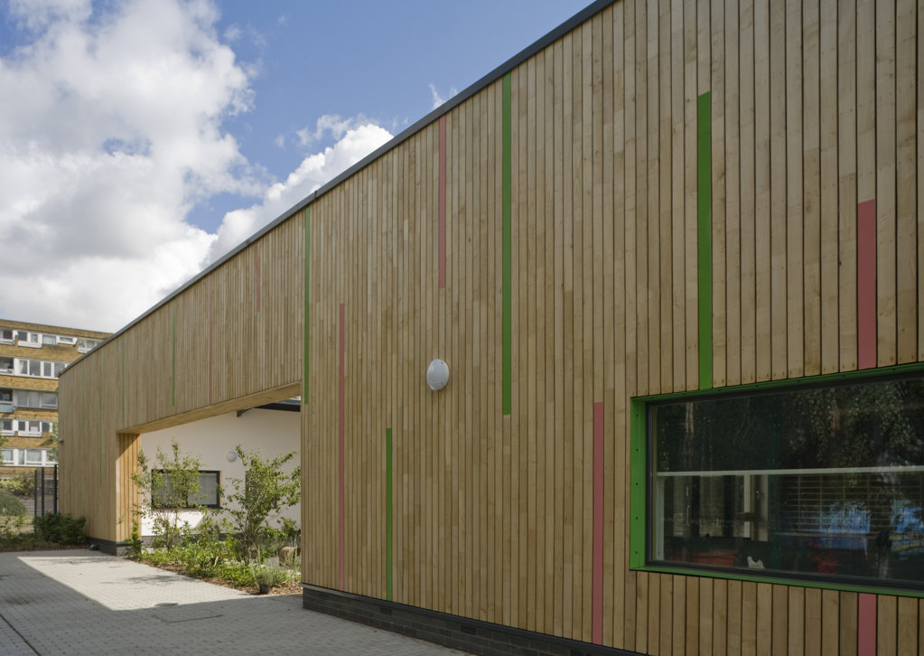 Stock Photo: 1801-59037 Tuke School, Haverstock Associates, London, 2010, Oblique Exterior View Of Teachers Garden With Timber Clad Opening