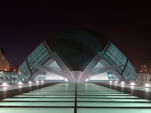 Stock Photo: 1801-5904 CITY OF ARTS AND SCIENCES, AVENIDA DEL TURIA, VALENCIA, SPAIN, NIGHT VIEW OF CINEMA ENTRANCE AT NIGHT, CALATRAVA