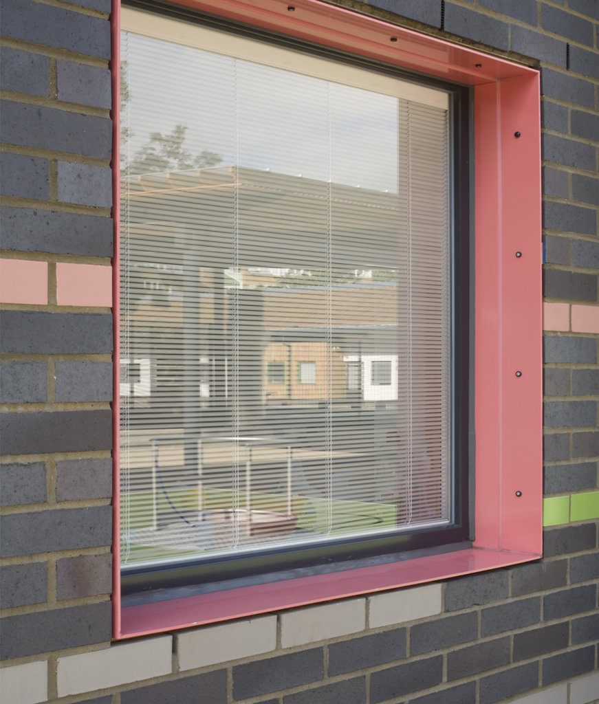 Tuke School, Haverstock Associates, London, 2010, Detail Of Coloured Window Reveal And Brick Facade : Stock Photo