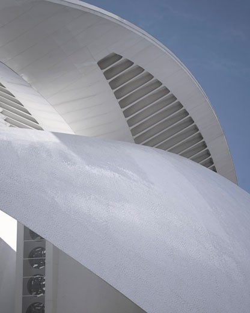 PALAU DE LES ARTS REINA SOFIA, VALENCIA, SPAIN, ABSTRACT DETAIL OF ROOF 2, CALATRAVA : Stock Photo