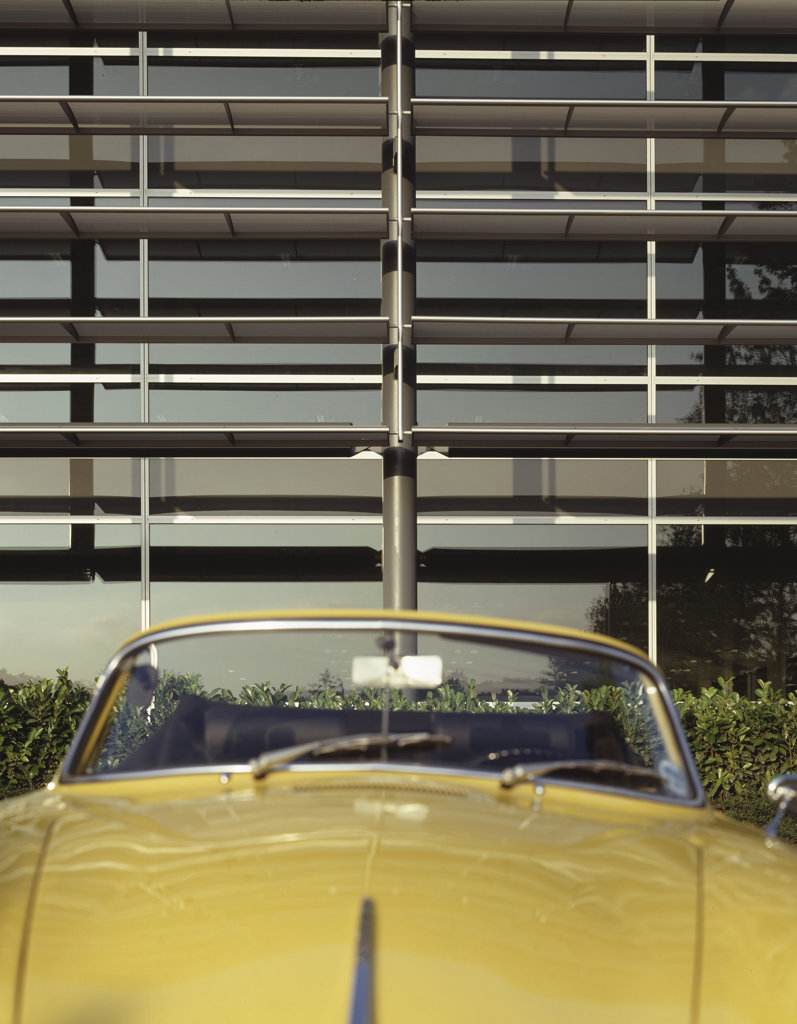 Stock Photo: 1801-61081 People Building Hemel - Morley Fund Management Ltd And Stanhope Plc Exterior And Yellow Sports Car Detail