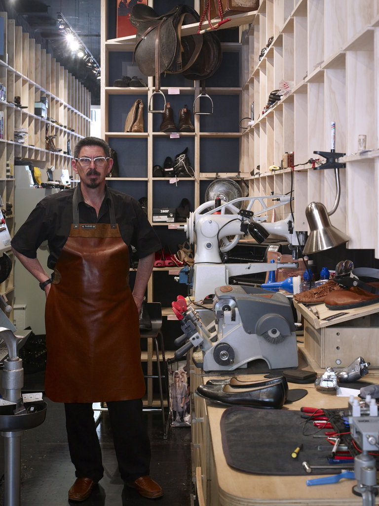 Portrait Of Andreas The Cobbler - Cobbler Caballero Is A New Retail Store Bringing Quality Shoe Repairs To The Heart Of Sydney'S Kings Cross Area. By Felicity Stewart Architect. : Stock Photo