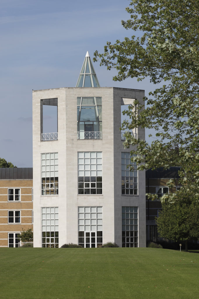 Stock Photo: 1801-61718 Moller Centre Churchill College  Henning Larsen Tegnestue  Cambridge  1992  View Of Tower