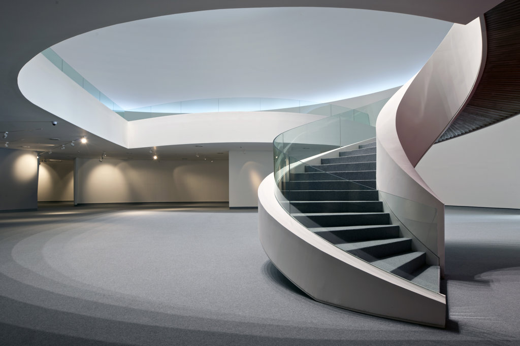 Stock Photo: 1801-61973 Niemeyer Center In Aviles  Spain  By Oscar Niemeyer. View Of Spiral Staircase