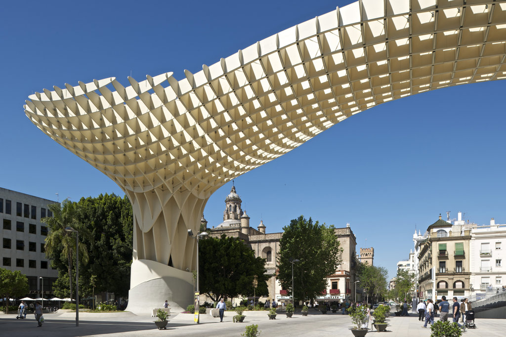 Stock Photo: 1801-61996 Metropol Parasol By J Mayer H Architects In Sevilla Spain. General Exterior Morning  View