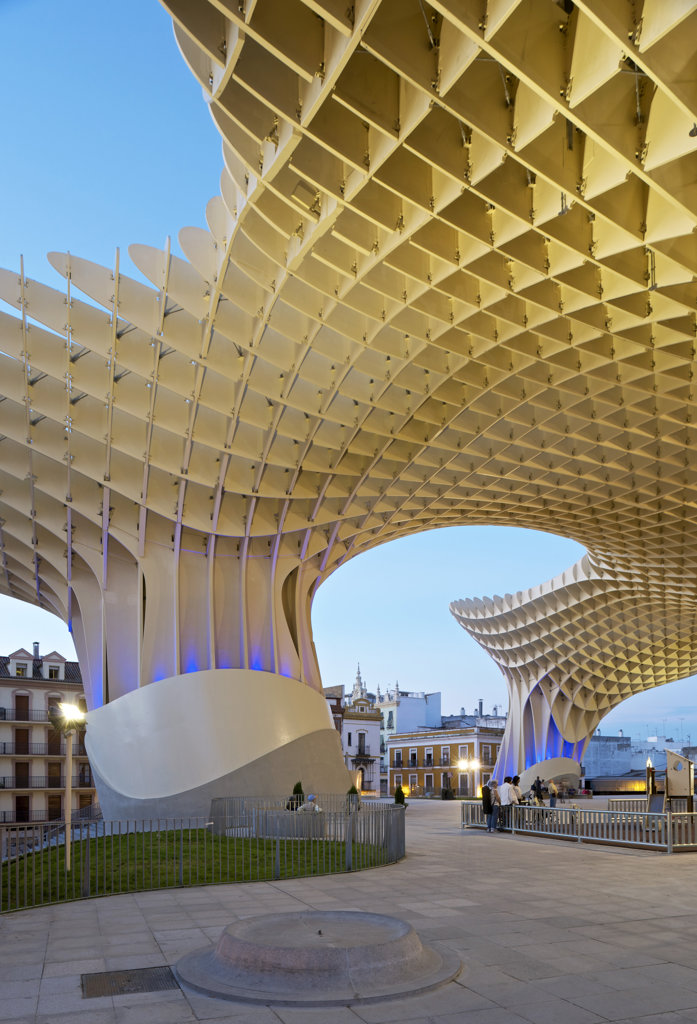Stock Photo: 1801-62028 Metropol Parasol By J Mayer H Architects In Sevilla Spain. Dusk View With Playground