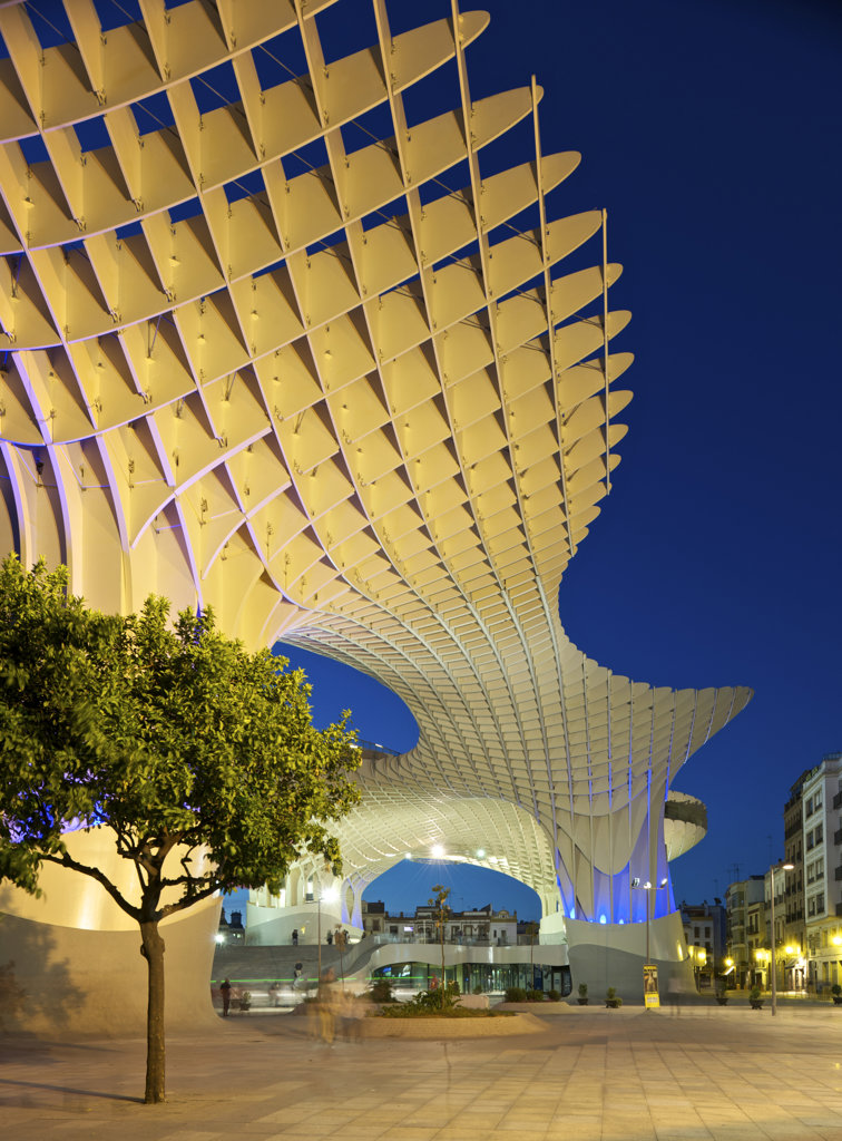 Stock Photo: 1801-62029 Metropol Parasol By J Mayer H Architects In Sevilla Spain. Evening View Of Elevation With Street Lights