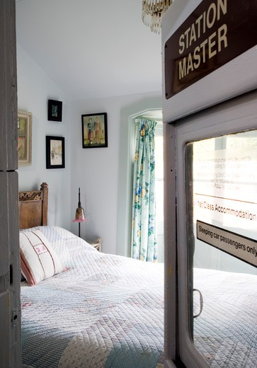 Stock Photo: 1801-62378 Whin Bridge Railway Carriage House  Eype  Dorset  Carriage Bedroom