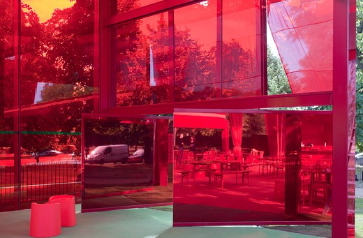 Stock Photo: 1801-64156 Serpentine Gallery Summer Pavilion 2010 Jean Nouvel With Arup Mirrored Detail