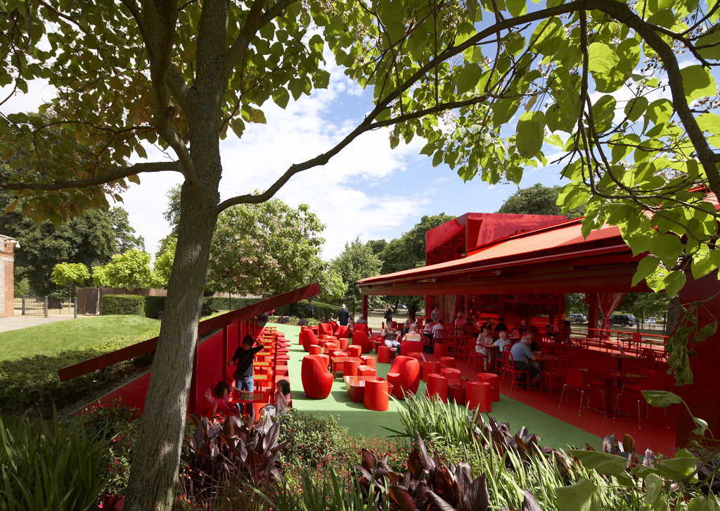 Stock Photo: 1801-64193 Serpentine Gallery Summer Pavilion 2010 Jean Nouvel With Arup  View Through Trees To Outdoor Seating