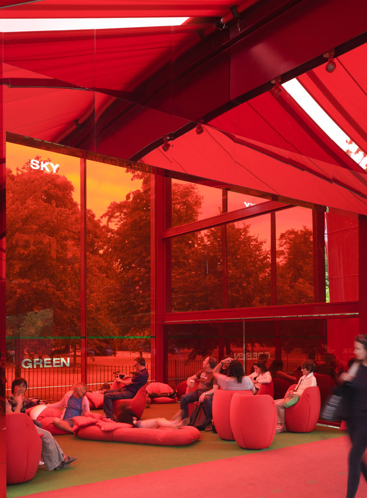 Stock Photo: 1801-64518 Serpentine Summer Pavilion 2010 Jean Nouvel With Arup Interior View With People