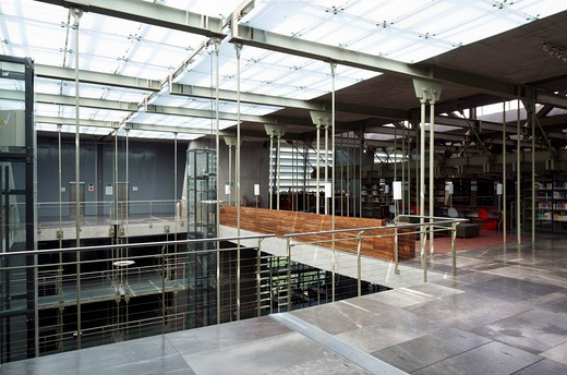 Stock Photo: 1801-65130 Jose Vasconcelos Library  Mexico City  Mexico  Alberto Kalach Looking View Showing Upper Floor Translucent Roofing With Hanging Lamp And Tensile Elements