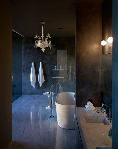 Stock Photo: 1801-65301 Villalagos House 1 Bathroom With Glass Chandelier