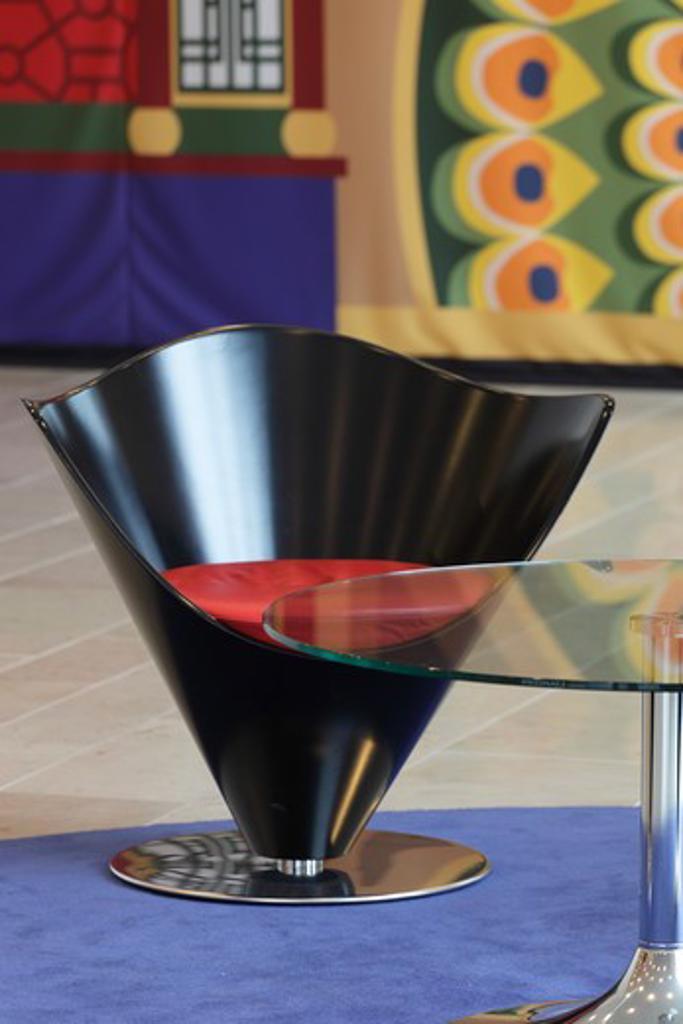 Tivoli Hotel  Kim Utzon Arkitekter  Copenhagen Denmark  2010  Chair And Glass Table In Foyer : Stock Photo