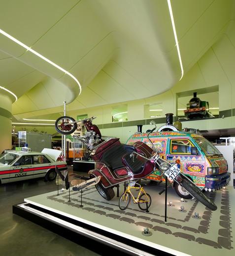 Stock Photo: 1801-65746 Riverside Museum Of Transport Designed By Zaha Hadid Architects.  Interior