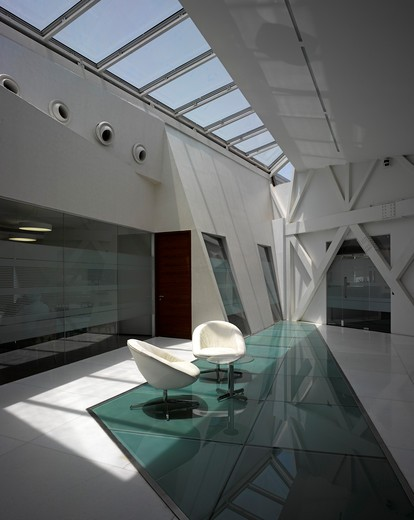 Gms Grande Palladium Office Development-Mumbai India-Malik Architecture 2011-Breakout Area On Top Floor : Stock Photo