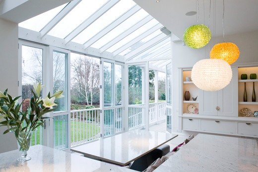 West London Private House 1900S Kitchen And Conservatory : Stock Photo