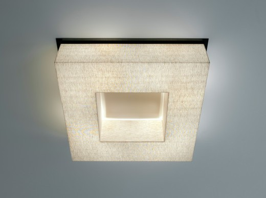 Stock Photo: 1801-67463 Townhouse Project, Nitzan Design, New York, 2011. Detail Of Custom Ceiling Light Fixture In Linen And Bronze.