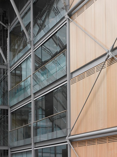 Wellcome Trust, Gibbs Building, 215 Euston Road, London, 2004, Detail Of Structure : Stock Photo