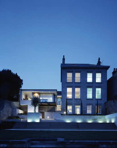 Stock Photo: 1801-68092 Private House Extension Existing House And Extension From Garden At Dusk With Extra Light