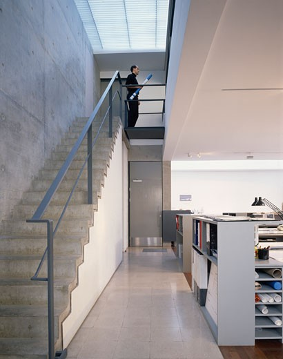 Stock Photo: 1801-6817 DAVID CHIPPERFIELD ARCHITECTS OFFICES, UNITED KINGDOM, STAIRS LEADING TO UPPER FLOOR., DAVID CHIPPERFIELD