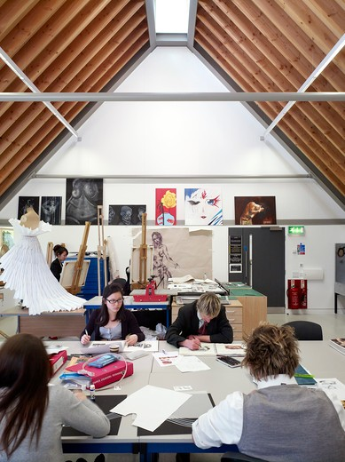 Art Room During A Lesson  King'S School Ely  By Orms Architecture Designgn : Stock Photo