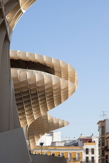 Stock Photo: 1801-68825 Metropol Parasol, Seville, Architect Jurgen Mayer H, 2011  View From Plaza, Detail Of Structure