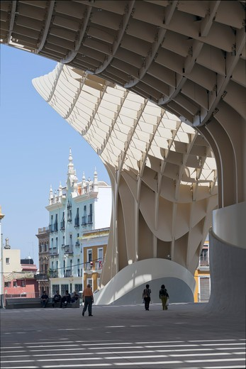Stock Photo: 1801-68833 Metropol Parasol, Seville, Architect Jurgen Mayer H, 2011  View From Plaza