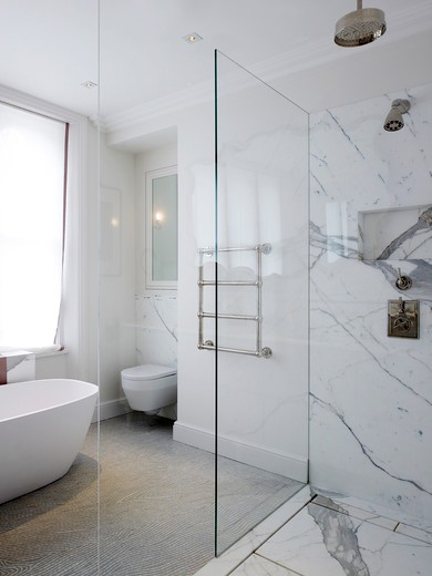 Stock Photo: 1801-70485 Bathroom  Shower - Refurbished Victorian Family London Town House In Notting Hill