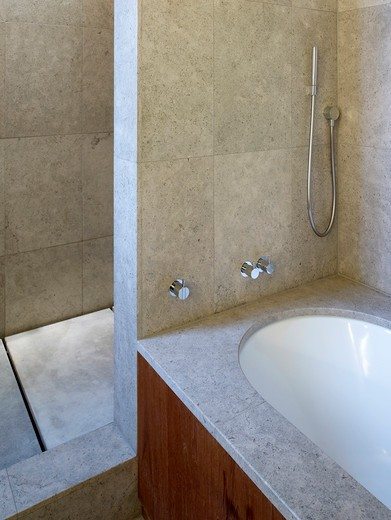 Stock Photo: 1801-70498 Bathroom Detail  Stone  Bath  Shower  Tap- Refurbished Apartment In Central London