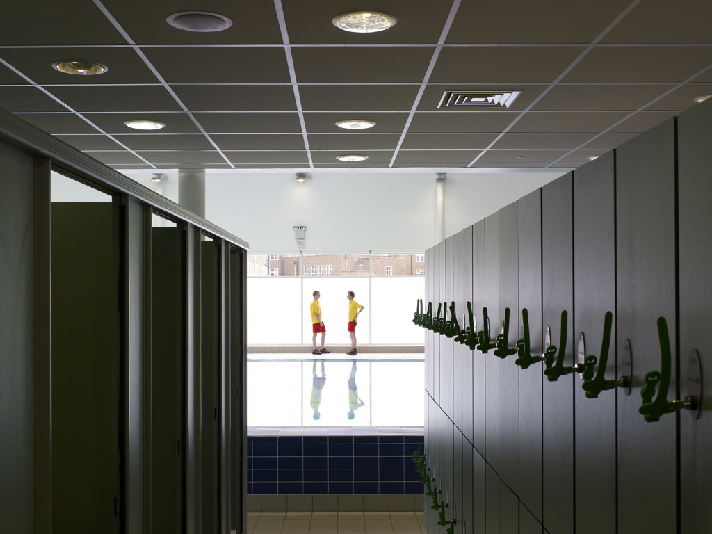 Stock Photo: 1801-70602 Locker Area And Swimming Pool  Life Guards